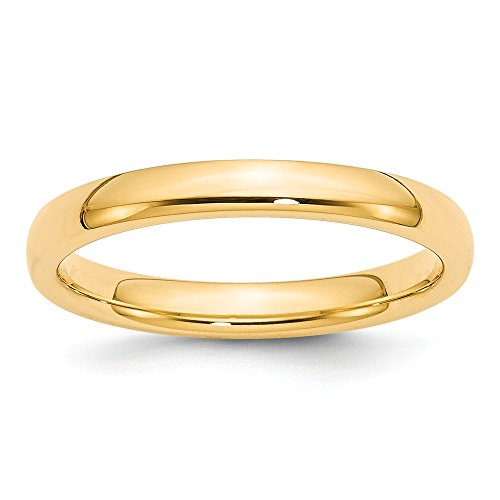 14k Yellow Gold 3mm Comfort-Fit Band by Saris and Things