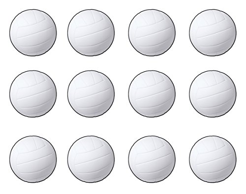 12 Piece Volleyball Cutouts, 13.5'' (White/Black) ()