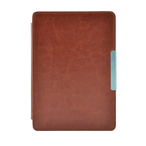 Coohole Magnetic Auto Sleep Leather Cover Case For Kobo Touch N905 A B C eReader 6inch - Brown Clips And Round Free