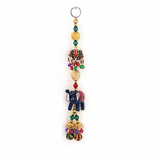 Little India Decorative Elephant Design Wall and Car Hanging (358, Brown)