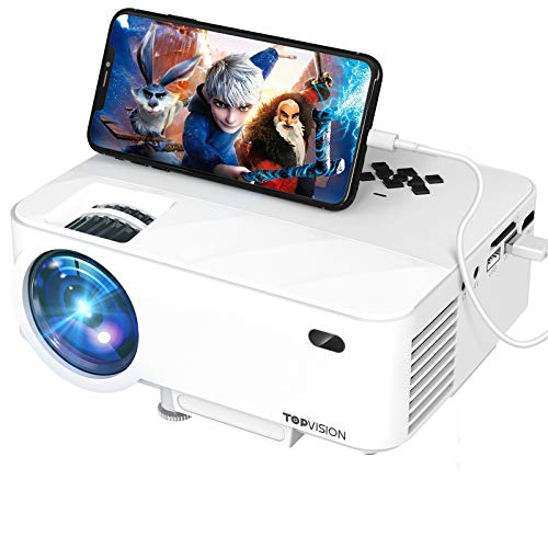 TOPVISION Mini Video Projector 4500L Outdoor Movie Projector with Synchronize Smart Phone Screen,Full HD 1080P Supported LED Projector, Compatible with Fire Stick,HDMI,VGA,USB,TV,Box,Laptop,DVD