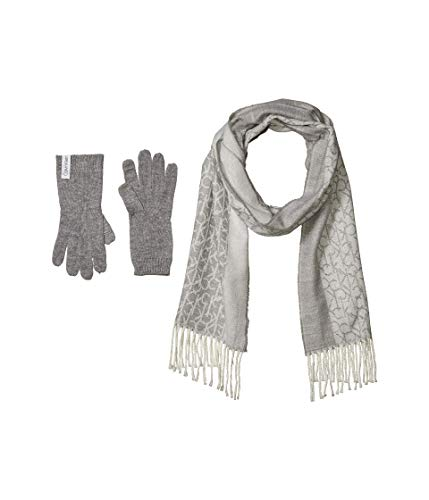 Calvin Klein Two-Piece Woven Border Scarf and Knit Touch Gloves