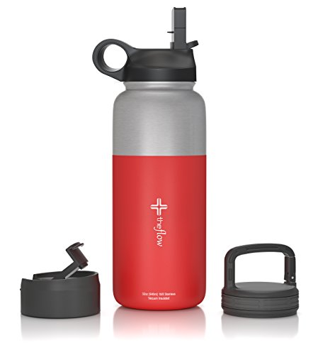 the flow Stainless Steel Water Bottle Double Walled/Vacuum Insulated - BPA/Toxin Free – Wide Mouth with Straw Lid, Carabiner Lid and Flip Lid, 32 oz.(1 Liter) (Stainless red, (Carabiner Bottle)