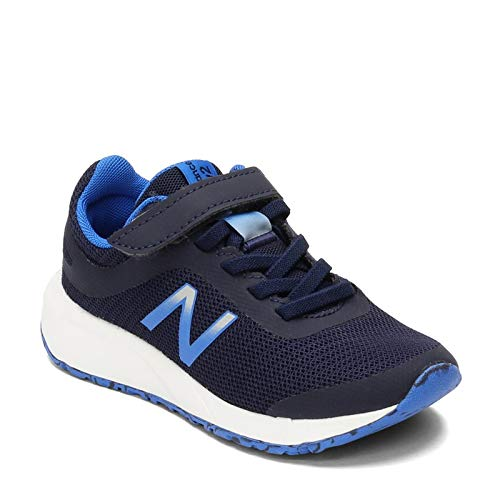 New Balance Boys' 455v2 Hook and Loop Running Shoe, Navy/Vivid Cobalt, 11 M US Little Kid
