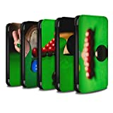 STUFF4 PU Leather Wallet Flip Case/Cover for Apple iPhone X/10 / Pack 15pcs Design / Snooker Collection