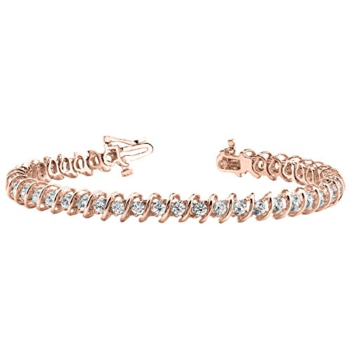 3 Carat S Link Diamond Tennis Bracelet 14K Rose Gold Value Collection by Diamond Manufacturers USA