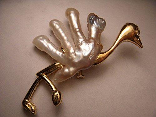 Stunning Estate 18K Yellow Gold Diamond Biwa Pearl Ostrich Brooch Pin by GEMSforyou
