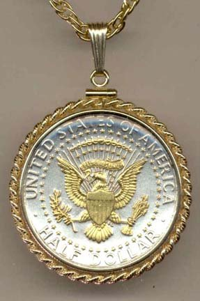 Reverse Kennedy Half Dollar Two Tone Rope Bezel U.S. Coin Pendant with 24'' Chain (Eagle, Stars, Banner in Gold) by J&J
