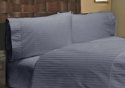 """UPC 888099630274, 600 Thread Count 1 PC Fitted Sheet 100% Egyptian Cotton Stripe Elephant Grey Full 30"""" Deep Pocket"""