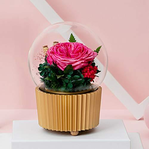 Rain Eternal Flower, Gift Box Glass Cover Rotating Music Box Mother, 1