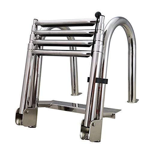 White Water B00351PL-WS Stainless Folding Rear Entry Pontoon Boat Ladder with Extra Wide Step