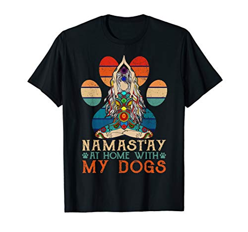 Namast'ay Home With My Dogs Yoga T-Shirt Funny Paw Tee (Namast Ay Home With My Dog Shirt)