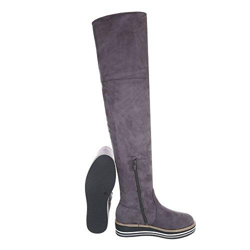 Ital-Design Overknees Damenschuhe Overknees Moderne Reißverschluss Stiefel Grau 6822-PA