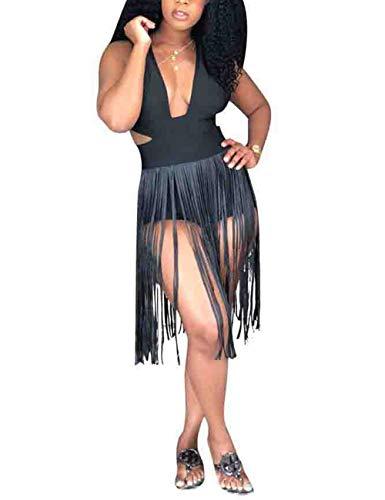 Fringe Sleeveless - Rela Bota Women's Cut Out Sleeveless Fringe Tassel Clubwear Party Bodycon Jumpsuit Romper Black M