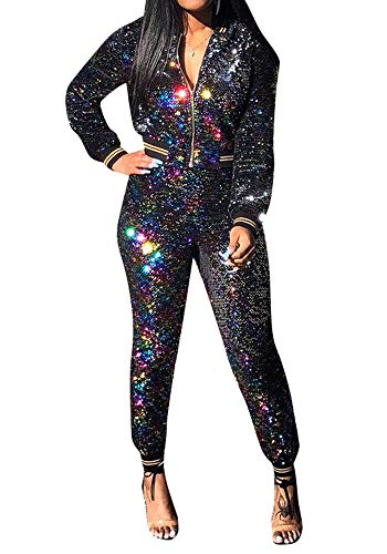 Womens Sexy Sequin Glitter 2 Piece Outfit Coat