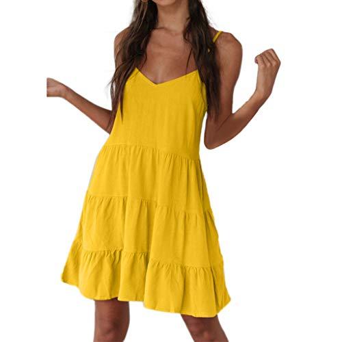 Short Dress for Teens,Fashion Women's Summer Pleated Dress Evening Dress Sundress Mini Dress, -
