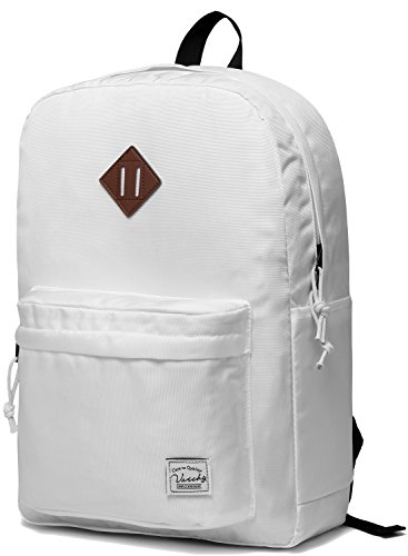 Lightweight Backpack for School, VASCHY Classic Basic Water Resistant Casual Daypack for Travel with Bottle Side Pockets -