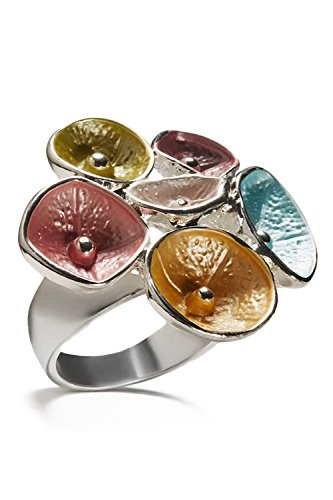 Nothing but Love Jewelry Fantasy Flowers Ring Wide Band Glossy Floral Cocktail Rings Women Fashion Jewelry (Alloy, Multi, 18)