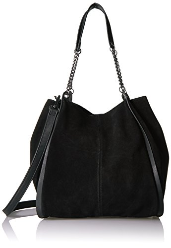 The Fix Joni Deconstructed Suede Tote With Chain Shoulder Strap Tote Bag, Black