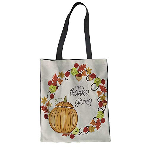 Canvas Plain Tote Bag Cute Canvas Tote Bag for Beach,Shipping,Groceries,Books Thanksgiving Autumn Sale Text Poster for September Shopping Promo Autumnal Shop Discount 13.3
