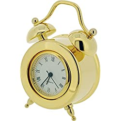 Gold Double Bell Miniature Clock by Gift Time Products