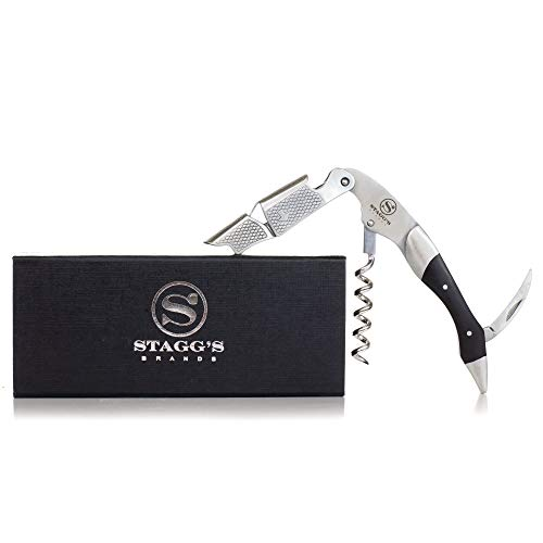 Premium Double Hinged Waiter's Wine Corkscrew by Stagg's Brands- Stainless Steel Wine Key with Wood Inlay- Perfect Wine Opener for Waiters, Sommeliers and Bartenders (Black Wood) ()