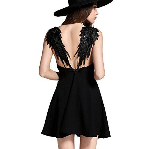 mini di sera di Beach maniche Backless cocktail Sundress angelo dal ali partito del senza cablaggio Sexy vestito Juleya del Nero Tx16XOw