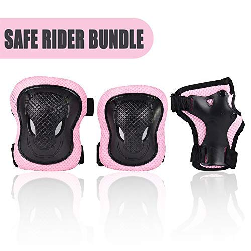 Kuxuan Girl s CIRA Pink Protective Gear Set Including Knee Pads Elbow Pads and Wrist Guards, for Kid Multi Sports Uses Skateboarding, Roller Skating, Cycling, Balance Biking, and Scooter