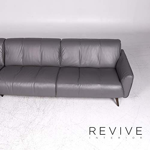 Natuzzi Designer Leather Corner Sofa Gray Sofa Couch ...