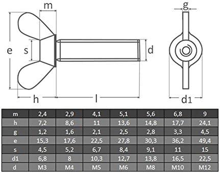 | Fl/ügelschraube Schraube OPIOL QUALITY 10 St/ück amerikanische Form Fl/ügelschrauben M6 X 40 DIN 316 Edelstahl A2
