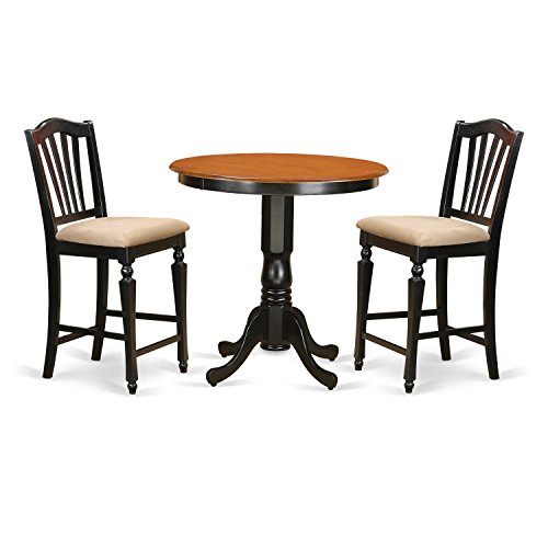 East West Furniture JACH3-BLK-C 3 Piece High Table and 2 Counter Height Dining Chair Set (Round 36 Inch Counter)