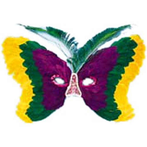 Butterfly Mardi Gras Feather Eye Mask (Butterfly Feather Eye Mask)
