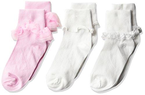 Nylon Lace Ruffle (Jefferies Socks Big Girls' Ruffle/Ripple Edge/Lace Socks 3 Pack, Pink/White, Medium)