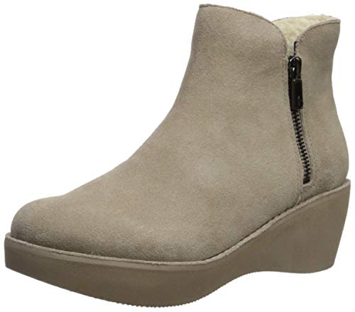 Kenneth Cole REACTION Women's Prime Cozy Platform Bootie with Side Zip Ankle Boot, Taupe, 8.5 M US