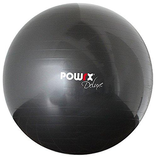 POWRX Gymnastikball Sitzball Deluxe Fitnessball mit Pumpe, Anthrazit, 55 cm, 400102
