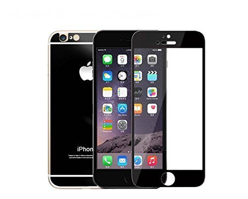 Cakin New Colorful Mirror Effect Electroplanting Premium Real Tempered Glass Film Screen Protector for Apple iPhone 6 - 4.7 inches Front and Back Panel 2 Packs (P6 4.7 Black)
