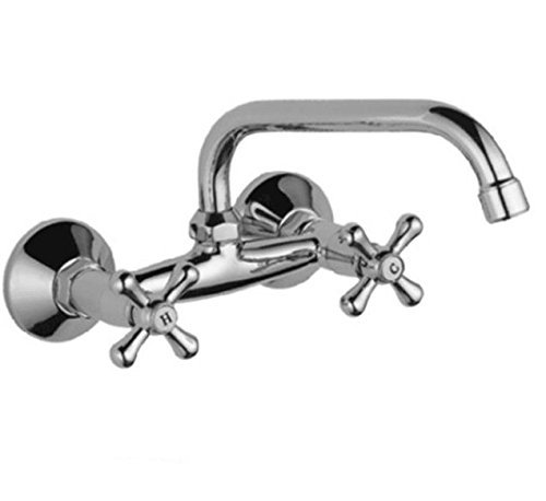 Wall Mounted 7-Inch Spout Kitchen Sink Faucet 8 Inch Double Knobs Cross Victorian Basin two Hole Bar Faucet Mixer Tap Vintage Polish Chrome Designer Commercial ()