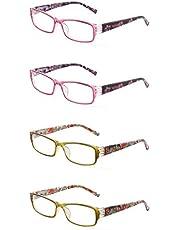 JM 4-pack Dames Leesbrillen Veerscharnier Mode Pattern Lezers voor Heren