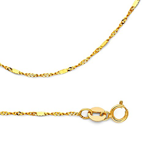Singapore Chain Solid 14k Yellow Gold Necklace With Bar Stamped Diamond Cut Link Thin 1.3 mm 16 (Yellow Gold Bar Link Chain)