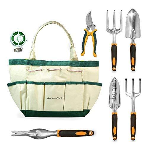 GardenHOME 8 Piece Garden Set 5 Heavy Duty Cast Aluminium Tools with Ergon, L, Other ()