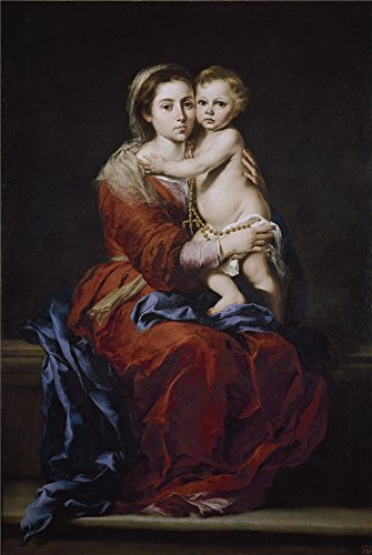 The High Quality Polyster Canvas Of Oil Painting 'Murillo Bartolome Esteban La Virgen Del Rosario 1650 55 ' ,size: 18 X 27 Inch / 46 X 68 Cm ,this Beautiful Art Decorative Prints On Canvas Is Fit For Hallway Gallery Art And Home Artwork And Gifts