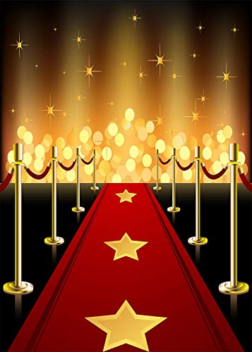 Daniu Hollywood Backdrops Vinyl Red Carpet Background Birthday Party Event Decorations Dress-up and Awards Night Ceremony Portraits Photo Booth Props for $<!--$14.99-->
