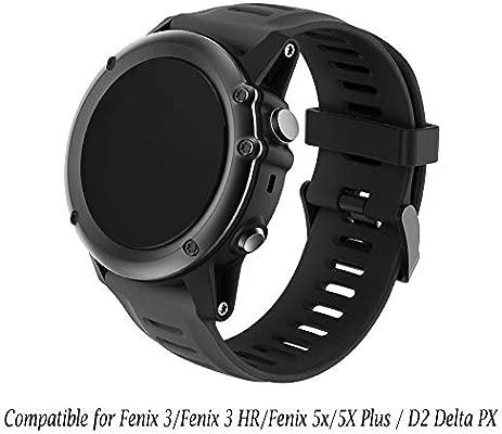 YaYuu Garmin Fenix 3 Correa Fenix 5X Banda para Reloj Deportivos Suave Silicona Accesorio Correa Pulsera de Repuesto para Garmin Fenix 3/Fenix ...