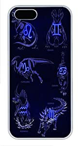 Zodiac Art Dinosaur Signs Custom Hard Case Cover for iPhone 5s and iPhone 5 - Polycarbonate - White