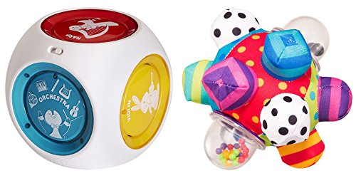 [Baby Mozart Magic Cube Musical Toy & Developmental Bumpy Ball for Kids, 2 Pack] (Baby Fish Costume Diy)