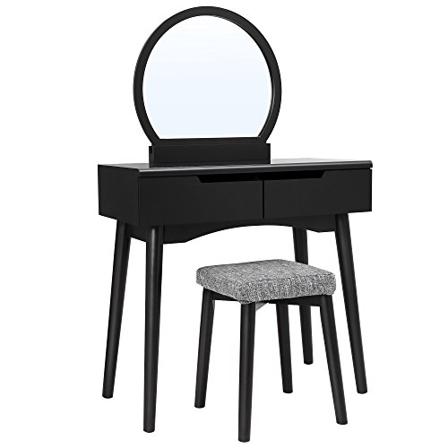 VASAGLE Vanity Set, Makeup Dressing Table with Mirror, 2 Large Drawers, Stool, Black URDT11BK