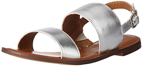 206 Collective Women's Cedar Casual Double Band Sandal, Silver Leather, 6 B US