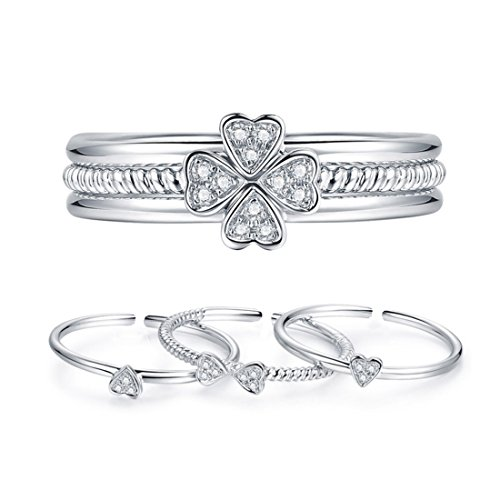 - Women's 925 Sterling Silver CZ Stacking Four-Leaf Clover Open Cuff Ring Wedding Bands Adjustable Size 4-9 3pcs