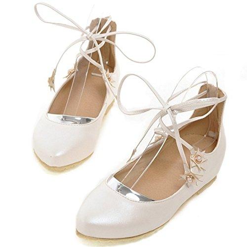 bailarinas mujer RAZAMAZA White cordones Plano zapatos ZE0x5w