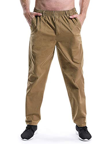 OCHENTA Men's Full Elastic Waist Lightweight Workwear Pull On Cargo Pants #04 Yellow Tag 6XL - US 44 ()